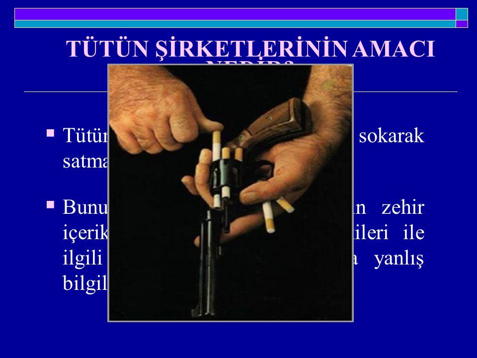 TÜTÜN ŞİRKETLERİNİN AMACI NEDİR?  Tütün ürünlerini her türlü kılığa sokarak satmak ve pazarlarını genişletmek  Bunu yaparken de bu ürünlerin zehir i