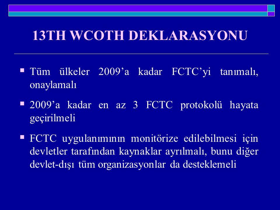 13TH WCOTH DEKLARASYONU  Tüm ülkeler 2009'a kadar FCTC'yi tanımalı, onaylamalı  2009'a kadar en az 3 FCTC protokolü hayata geçirilmeli  FCTC uygula