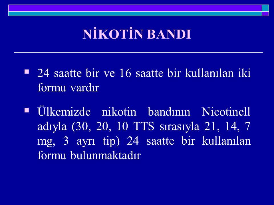 NİKOTİN BANDI  24 saatte bir ve 16 saatte bir kullanılan iki formu vardır  Ülkemizde nikotin bandının Nicotinell adıyla (30, 20, 10 TTS sırasıyla 21