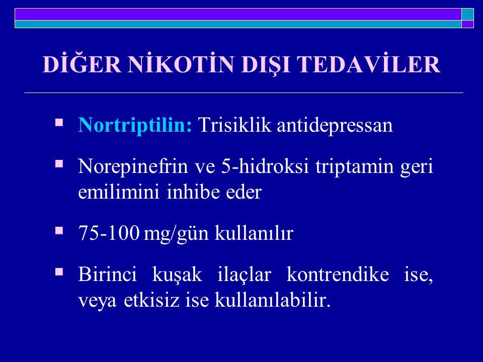 DİĞER NİKOTİN DIŞI TEDAVİLER  Nortriptilin: Trisiklik antidepressan  Norepinefrin ve 5-hidroksi triptamin geri emilimini inhibe eder  75-100 mg/gün