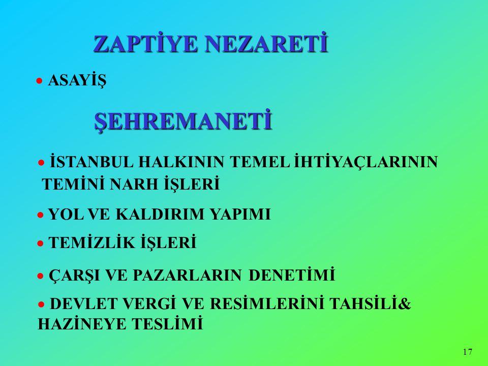 16  ZAPTİYE MÜŞÎRİYETİ (1262/1845) İSTANBUL'UN GÜVENLİK İŞLERİ   GENEL ZABITA GÖREVLERİ  TEMİZLİK VE AYDINLATMA  İHTİSAB NEZARETİ  ESNAF İŞLERİ