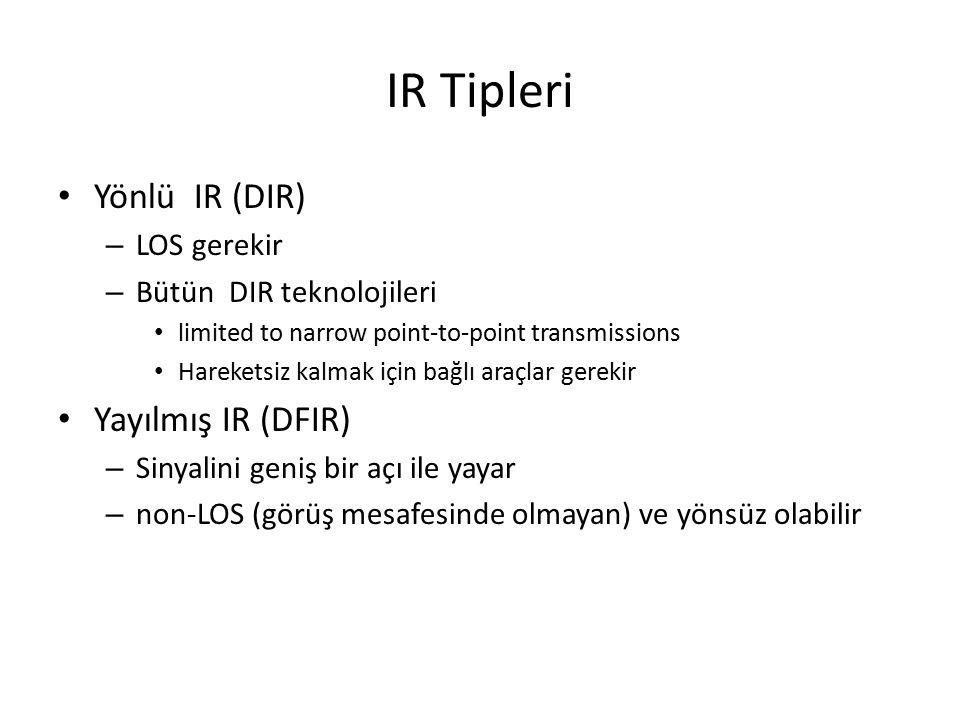 IR Tipleri Yönlü IR (DIR) – LOS gerekir – Bütün DIR teknolojileri limited to narrow point-to-point transmissions Hareketsiz kalmak için bağlı araçlar gerekir Yayılmış IR (DFIR) – Sinyalini geniş bir açı ile yayar – non-LOS (görüş mesafesinde olmayan) ve yönsüz olabilir