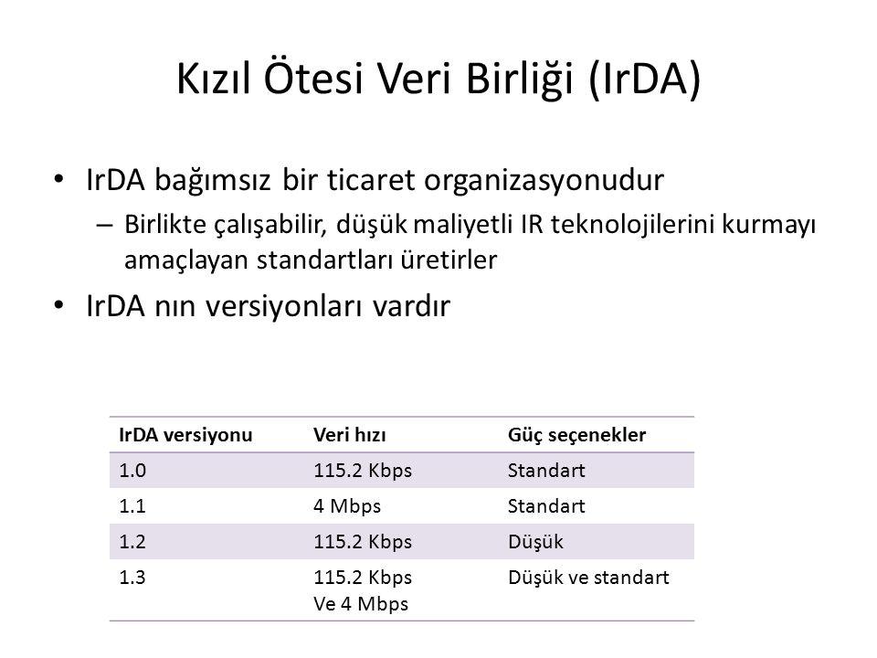 Kızıl Ötesi Veri Birliği (IrDA) IrDA bağımsız bir ticaret organizasyonudur – Birlikte çalışabilir, düşük maliyetli IR teknolojilerini kurmayı amaçlayan standartları üretirler IrDA nın versiyonları vardır IrDA versiyonuVeri hızıGüç seçenekler 1.0115.2 KbpsStandart 1.14 MbpsStandart 1.2115.2 KbpsDüşük 1.3115.2 Kbps Ve 4 Mbps Düşük ve standart