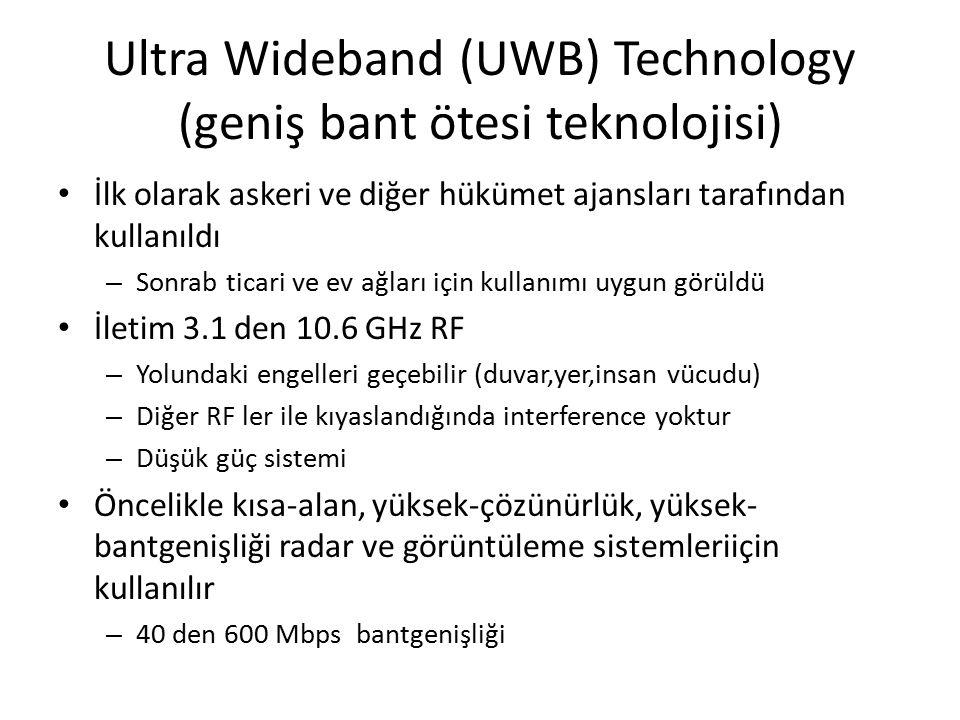 Ultra Wideband (UWB) Technology (geniş bant ötesi teknolojisi) İlk olarak askeri ve diğer hükümet ajansları tarafından kullanıldı – Sonrab ticari ve ev ağları için kullanımı uygun görüldü İletim 3.1 den 10.6 GHz RF – Yolundaki engelleri geçebilir (duvar,yer,insan vücudu) – Diğer RF ler ile kıyaslandığında interference yoktur – Düşük güç sistemi Öncelikle kısa-alan, yüksek-çözünürlük, yüksek- bantgenişliği radar ve görüntüleme sistemleriiçin kullanılır – 40 den 600 Mbps bantgenişliği