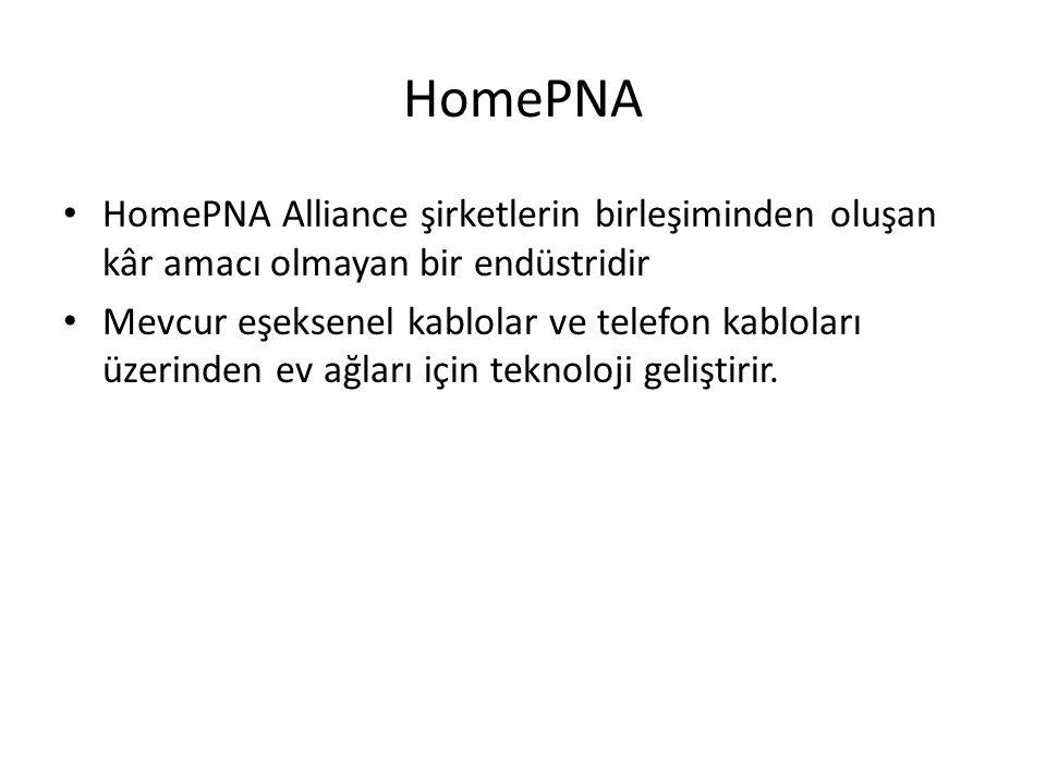 HomePNA HomePNA Alliance şirketlerin birleşiminden oluşan kâr amacı olmayan bir endüstridir Mevcur eşeksenel kablolar ve telefon kabloları üzerinden ev ağları için teknoloji geliştirir.
