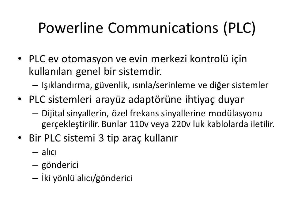 Powerline Communications (PLC) PLC ev otomasyon ve evin merkezi kontrolü için kullanılan genel bir sistemdir.