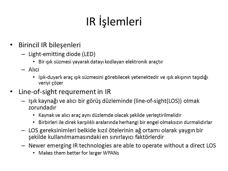 IR İşlemleri Birincil IR bileşenleri – Light-emitting diode (LED) Bir ışık süzmesi yayarak datayı kodlayan elektronik araçtır – Alıcı Işık-duyarlı araç ışık süzmesini görebilecek yetenektedir ve ışık akışının taşıdığı veriyi çözer Line-of-sight requrement in IR – Işık kaynağı ve alıcı bir görüş düzleminde (line-of-sight(LOS)) olmak zorundadır Kaynak ve alıcı araç aynı düzlemde olacak şekilde yerleştirilmelidir Birbirleri ile direk karşılıklı aralarında herhangi bir engel olmaksızın durmalıdırlar – LOS gereksinimleri belkide kızıl ötelerinin ağ ortamı olarak yaygın bir şekilde kullanılmamasındaki en sınırlayıcı faktörlerdir – Newer emerging IR technologies are able to operate without a direct LOS Makes them better for larger WPANs