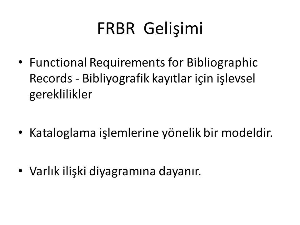 FRBR Gelişimi Functional Requirements for Bibliographic Records - Bibliyografik kayıtlar için işlevsel gereklilikler Kataloglama işlemlerine yönelik bir modeldir.