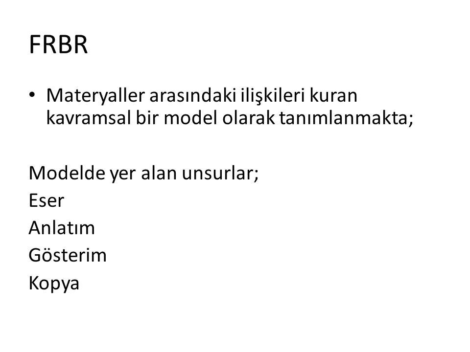 FRBR Materyaller arasındaki ilişkileri kuran kavramsal bir model olarak tanımlanmakta; Modelde yer alan unsurlar; Eser Anlatım Gösterim Kopya