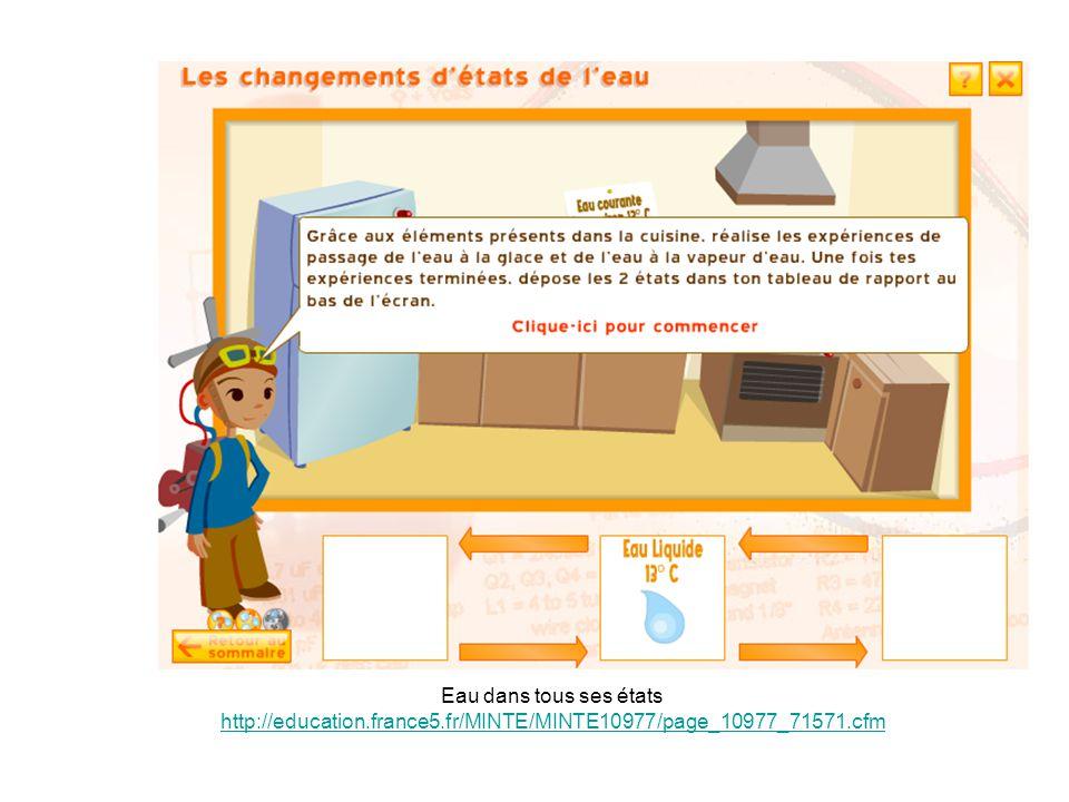 Eau dans tous ses états http://education.france5.fr/MINTE/MINTE10977/page_10977_71571.cfm http://education.france5.fr/MINTE/MINTE10977/page_10977_71571.cfm