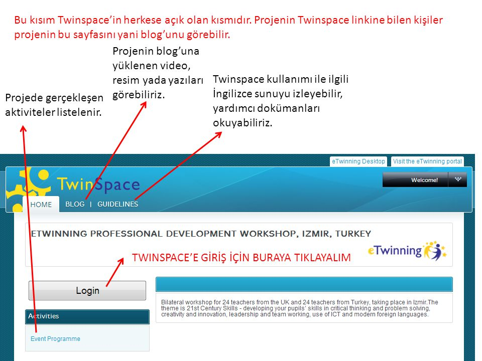 Projede gerçekleşen aktiviteler listelenir. Projenin blog'una yüklenen video, resim yada yazıları görebiliriz. Twinspace kullanımı ile ilgili İngilizc