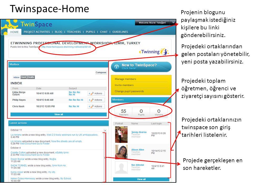 Twinspace-Home Projenin blogunu paylaşmak istediğiniz kişilere bu linki gönderebilirsiniz. Projedeki ortaklarından gelen postaları yönetebilir, yeni p