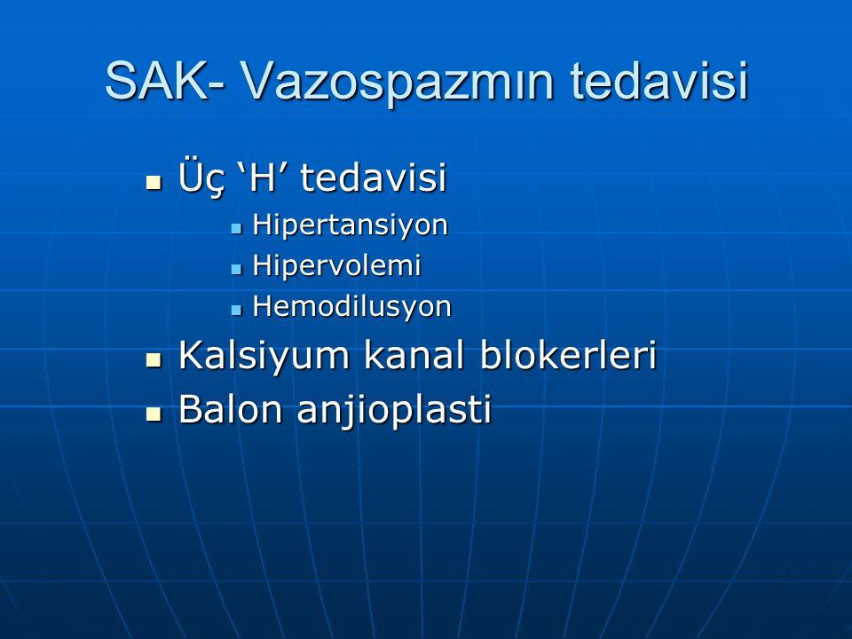 SAK- Vazospazmın tedavisi Üç 'H' tedavisi Üç 'H' tedavisi Hipertansiyon Hipertansiyon Hipervolemi Hipervolemi Hemodilusyon Hemodilusyon Kalsiyum kanal