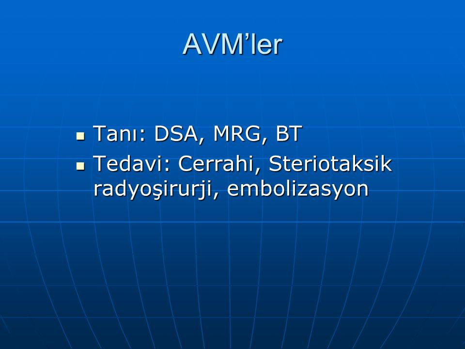 AVM'ler Tanı: DSA, MRG, BT Tanı: DSA, MRG, BT Tedavi: Cerrahi, Steriotaksik radyoşirurji, embolizasyon Tedavi: Cerrahi, Steriotaksik radyoşirurji, emb