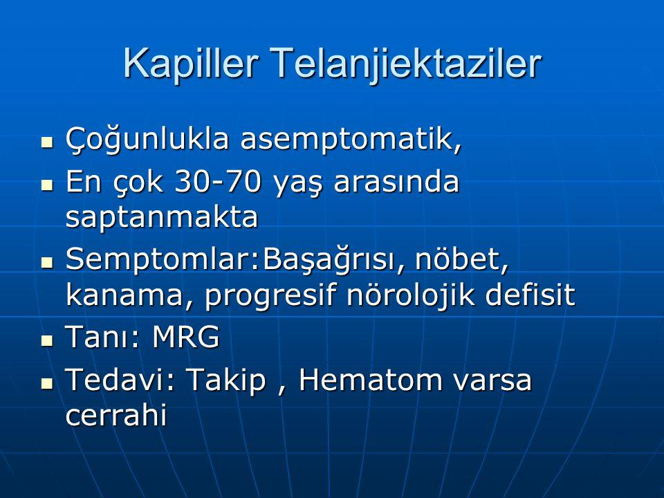 Kapiller Telanjiektaziler Çoğunlukla asemptomatik, Çoğunlukla asemptomatik, En çok 30-70 yaş arasında saptanmakta En çok 30-70 yaş arasında saptanmakt