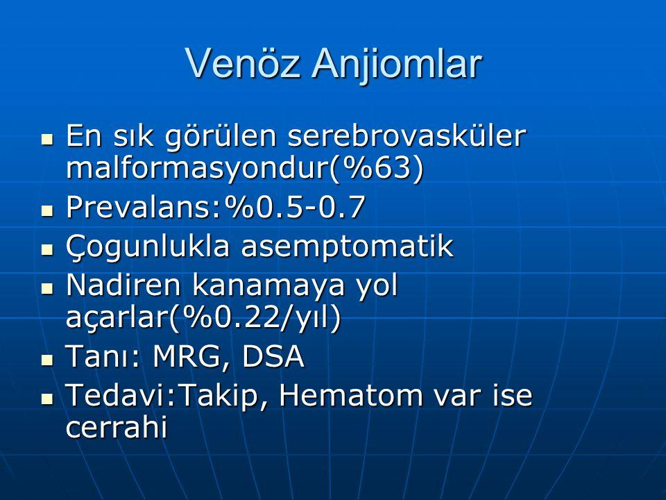 Venöz Anjiomlar En sık görülen serebrovasküler malformasyondur(%63) En sık görülen serebrovasküler malformasyondur(%63) Prevalans:%0.5-0.7 Prevalans:%