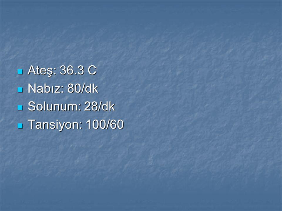 Ateş: 36.3 C Ateş: 36.3 C Nabız: 80/dk Nabız: 80/dk Solunum: 28/dk Solunum: 28/dk Tansiyon: 100/60 Tansiyon: 100/60