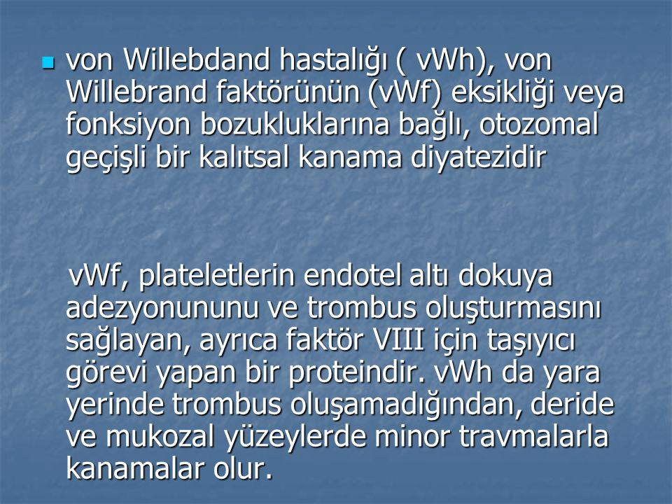 von Willebdand hastalığı ( vWh), von Willebrand faktörünün (vWf) eksikliği veya fonksiyon bozukluklarına bağlı, otozomal geçişli bir kalıtsal kanama d
