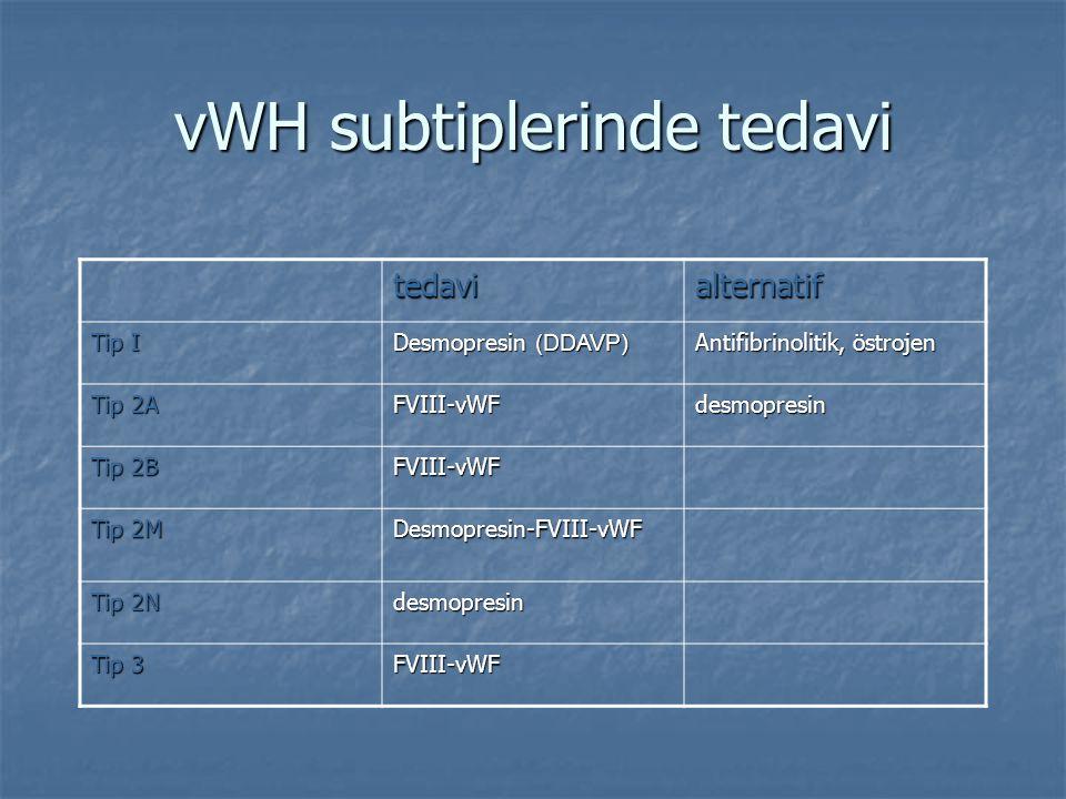 vWH subtiplerinde tedavi tedavialternatif Tip I Desmopresin (DDAVP) Antifibrinolitik, östrojen Tip 2A FVIII-vWFdesmopresin Tip 2B FVIII-vWF Tip 2M Des