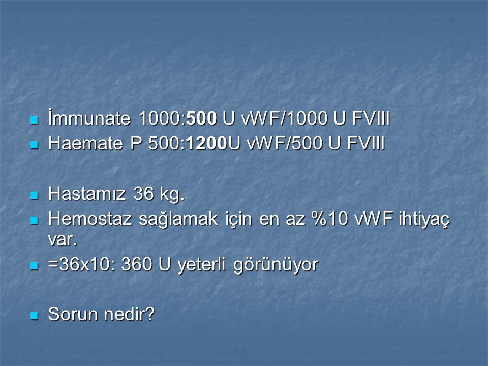 İmmunate 1000:500 U vWF/1000 U FVIII İmmunate 1000:500 U vWF/1000 U FVIII Haemate P 500:1200U vWF/500 U FVIII Haemate P 500:1200U vWF/500 U FVIII Hast