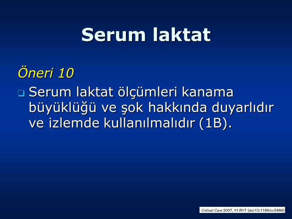 Serum laktat Öneri 10  Serum laktat ölçümleri kanama büyüklüğü ve şok hakkında duyarlıdır ve izlemde kullanılmalıdır (1B).