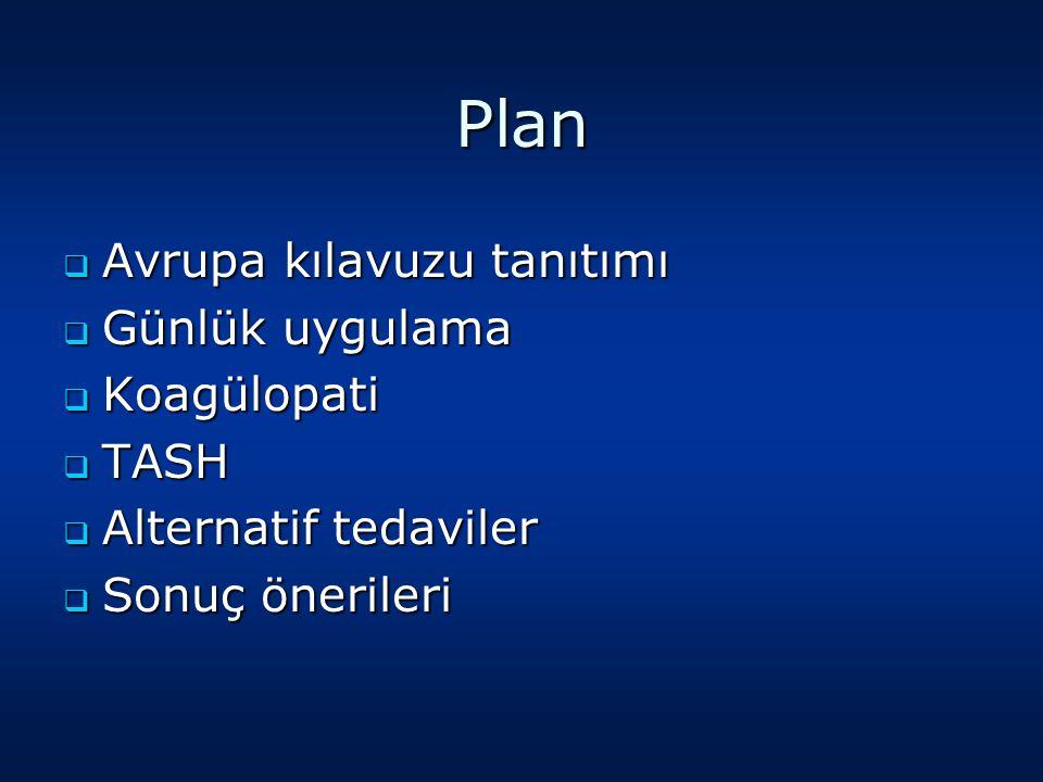Plan  Avrupa kılavuzu tanıtımı  Günlük uygulama  Koagülopati  TASH  Alternatif tedaviler  Sonuç önerileri