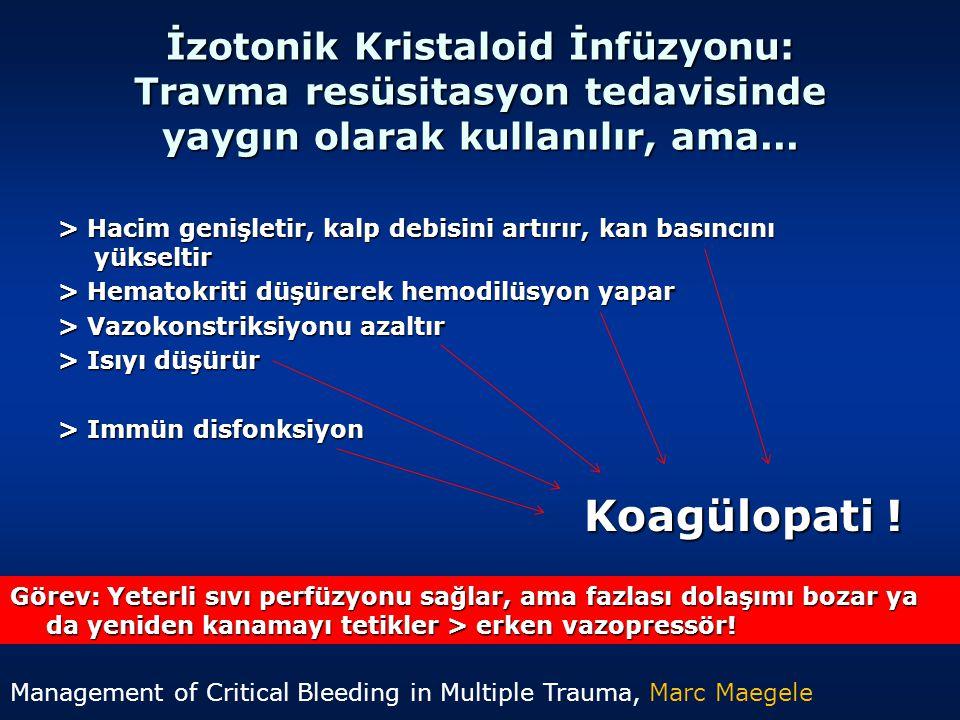 İzotonik Kristaloid İnfüzyonu: Travma resüsitasyon tedavisinde yaygın olarak kullanılır, ama...