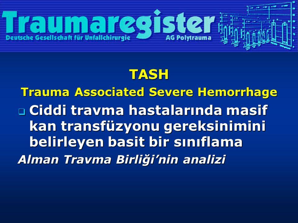 TASH Trauma Associated Severe Hemorrhage  Ciddi travma hastalarında masif kan transfüzyonu gereksinimini belirleyen basit bir sınıflama Alman Travma Birliği'nin analizi