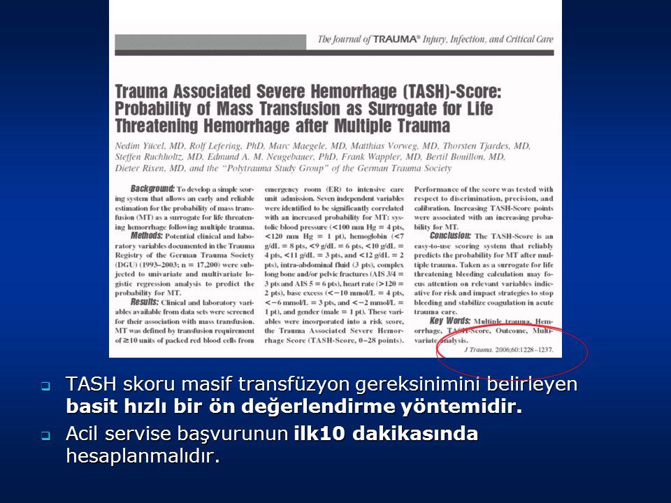  TASH skoru masif transfüzyon gereksinimini belirleyen basit hızlı bir ön değerlendirme yöntemidir.