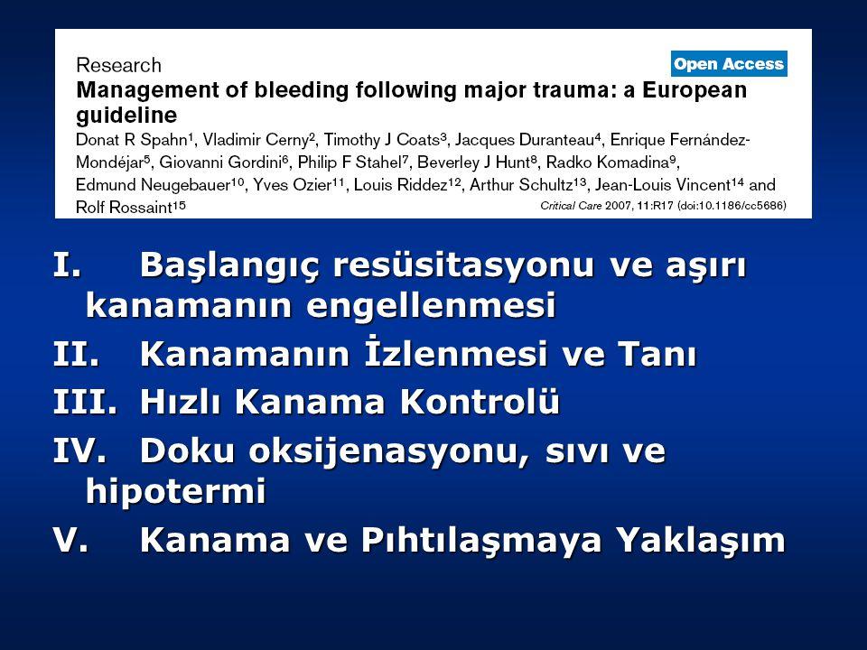 I. Başlangıç resüsitasyonu ve aşırı kanamanın engellenmesi II.