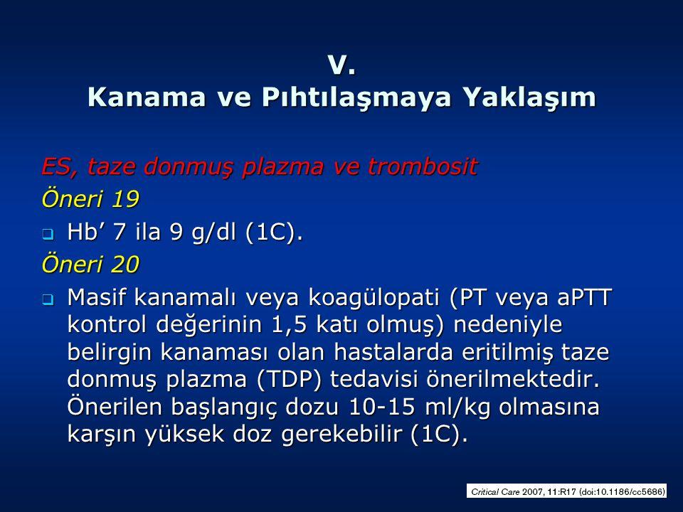V. Kanama ve Pıhtılaşmaya Yaklaşım ES, taze donmuş plazma ve trombosit Öneri 19  Hb' 7 ila 9 g/dl (1C). Öneri 20  Masif kanamalı veya koagülopati (P
