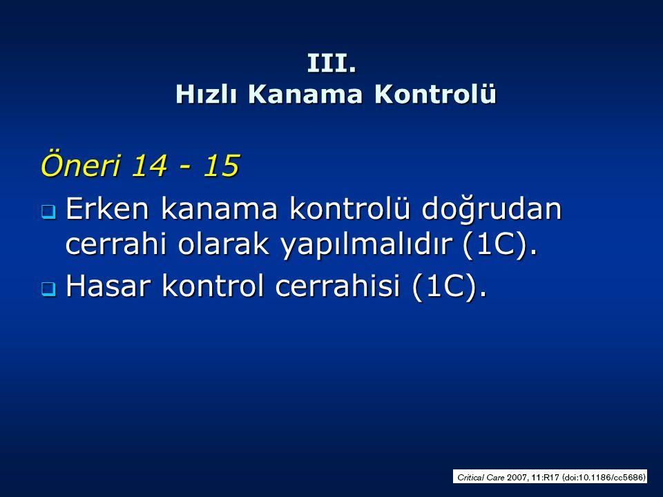 III. Hızlı Kanama Kontrolü Öneri 14 - 15  Erken kanama kontrolü doğrudan cerrahi olarak yapılmalıdır (1C).  Hasar kontrol cerrahisi (1C).