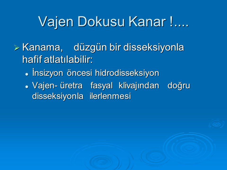 Vajen Dokusu Kanar !....  Kanama, düzgün bir disseksiyonla hafif atlatılabilir: İnsizyon öncesi hidrodisseksiyon İnsizyon öncesi hidrodisseksiyon Vaj