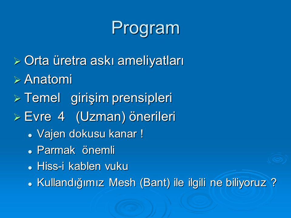 Program  Orta üretra askı ameliyatları  Anatomi  Temel girişim prensipleri  Evre 4 (Uzman) önerileri Vajen dokusu kanar .
