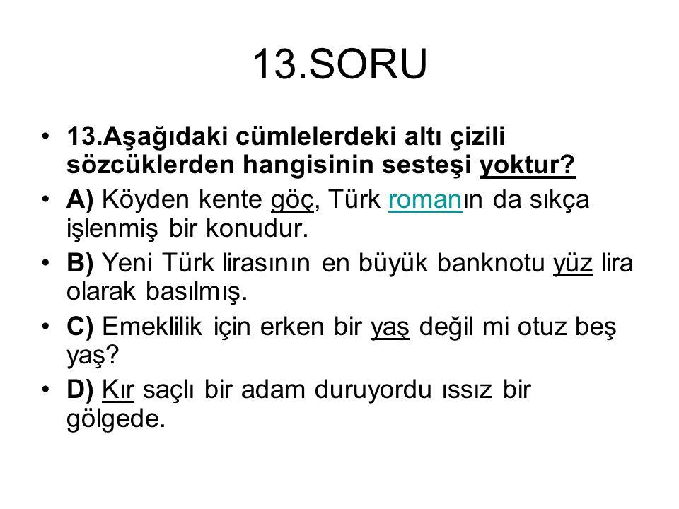 13.SORU 13.Aşağıdaki cümlelerdeki altı çizili sözcüklerden hangisinin sesteşi yoktur? A) Köyden kente göç, Türk romanın da sıkça işlenmiş bir konudur.