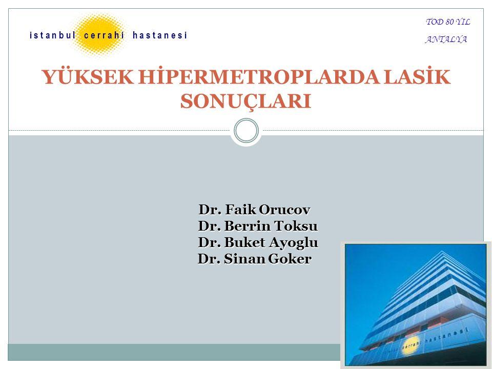 YÜKSEK HİPERMETROPLARDA LASİK SONUÇLARI i s t a n b u l c e r r a h i h a s t a n e s i Dr. Faik Orucov Dr. Berrin Toksu Dr. Berrin Toksu Dr. Buket Ay