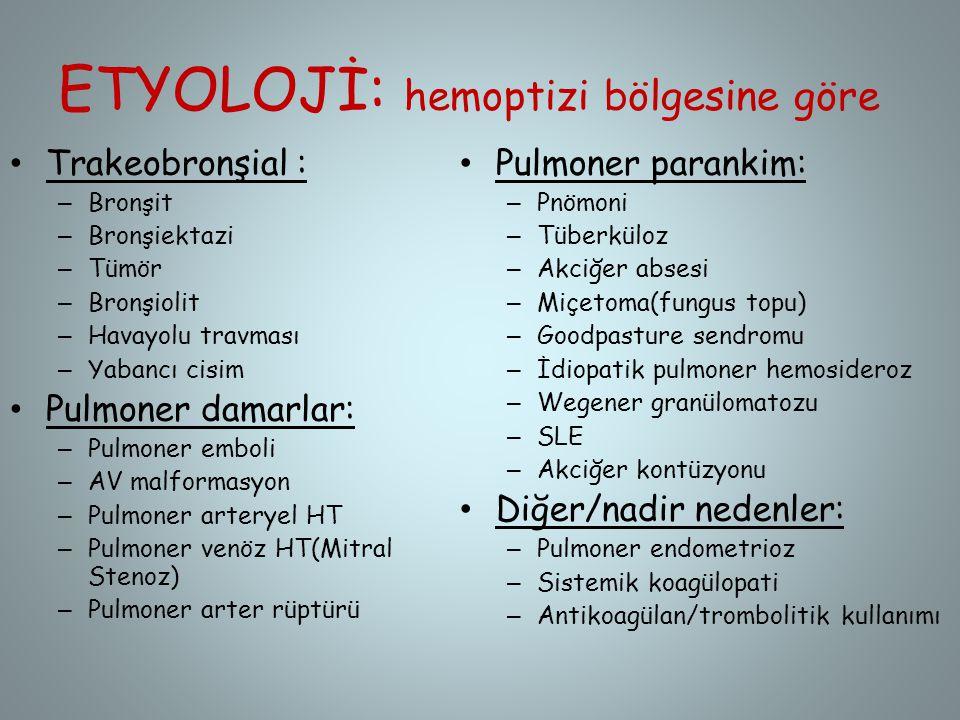 ETYOLOJİ: hemoptizi bölgesine göre Trakeobronşial : – Bronşit – Bronşiektazi – Tümör – Bronşiolit – Havayolu travması – Yabancı cisim Pulmoner damarla
