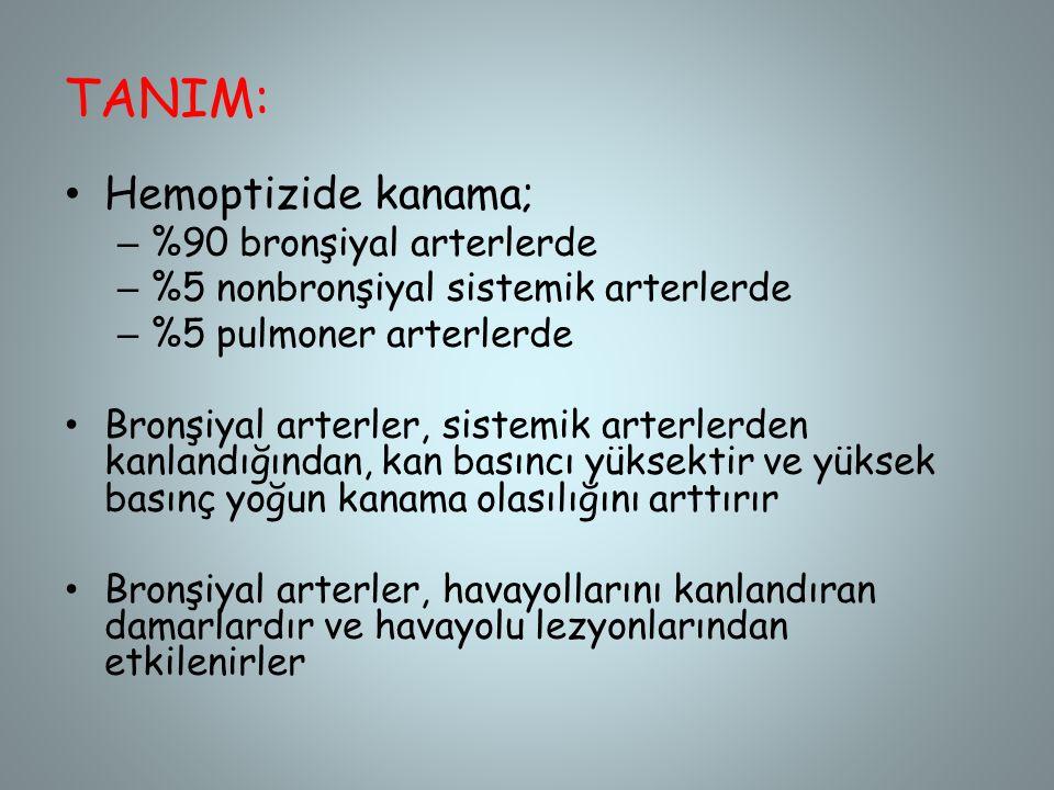 TANIM: Hemoptizide kanama; – %90 bronşiyal arterlerde – %5 nonbronşiyal sistemik arterlerde – %5 pulmoner arterlerde Bronşiyal arterler, sistemik arte