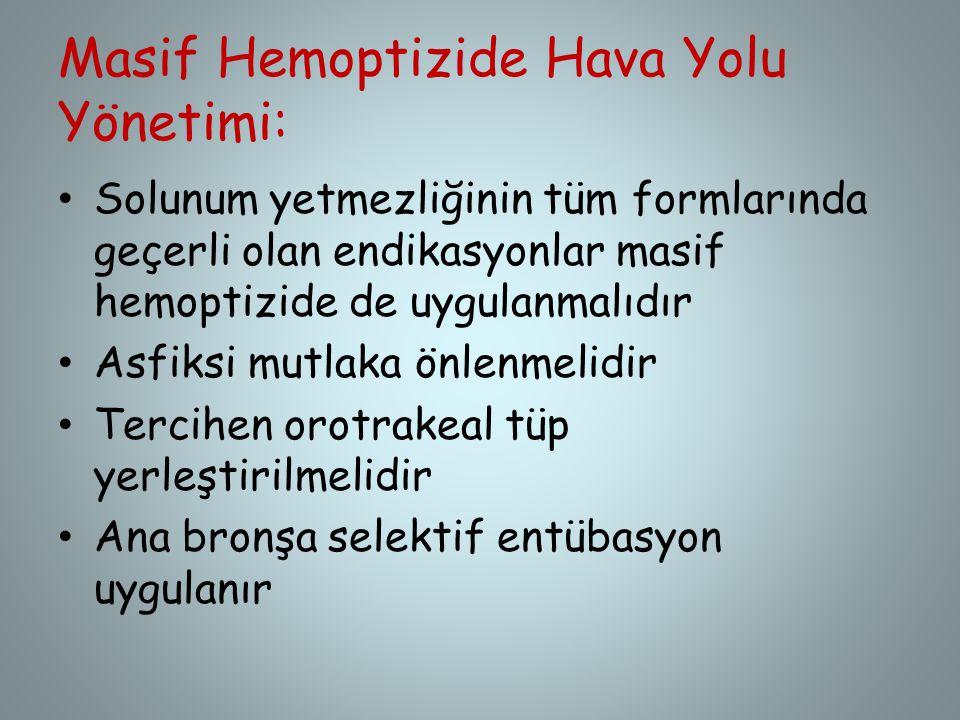 Masif Hemoptizide Hava Yolu Yönetimi: Solunum yetmezliğinin tüm formlarında geçerli olan endikasyonlar masif hemoptizide de uygulanmalıdır Asfiksi mut