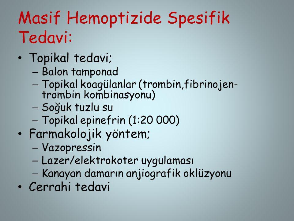Masif Hemoptizide Spesifik Tedavi: Topikal tedavi; – Balon tamponad – Topikal koagülanlar (trombin,fibrinojen- trombin kombinasyonu) – Soğuk tuzlu su