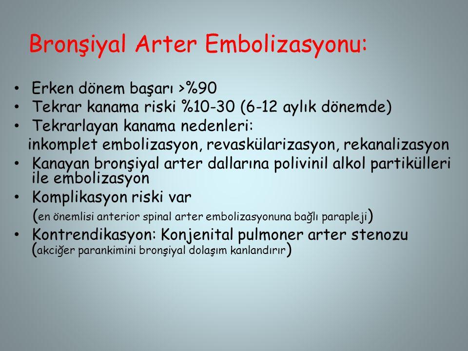 Bronşiyal Arter Embolizasyonu: Erken dönem başarı >%90 Tekrar kanama riski %10-30 (6-12 aylık dönemde) Tekrarlayan kanama nedenleri: inkomplet emboliz
