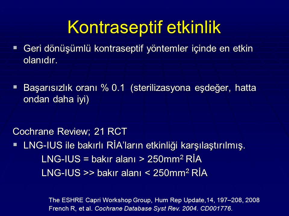 Kontraseptif etkinlik  Geri dönüşümlü kontraseptif yöntemler içinde en etkin olanıdır.  Başarısızlık oranı % 0.1 (sterilizasyona eşdeğer, hatta onda