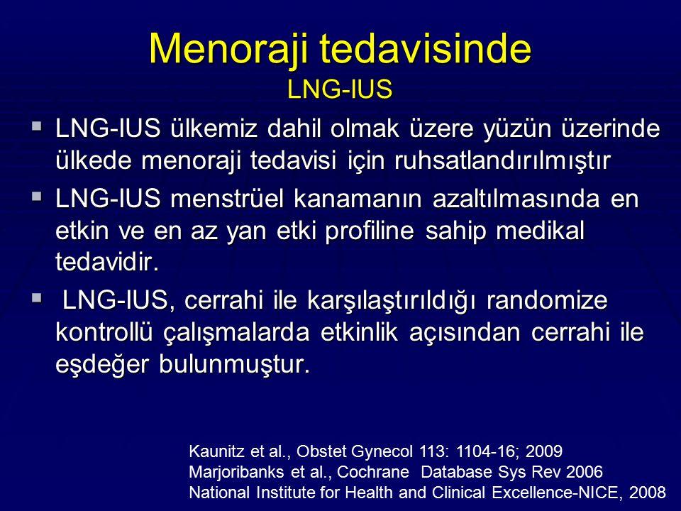 Menoraji tedavisinde LNG-IUS  LNG-IUS ülkemiz dahil olmak üzere yüzün üzerinde ülkede menoraji tedavisi için ruhsatlandırılmıştır  LNG-IUS menstrüel