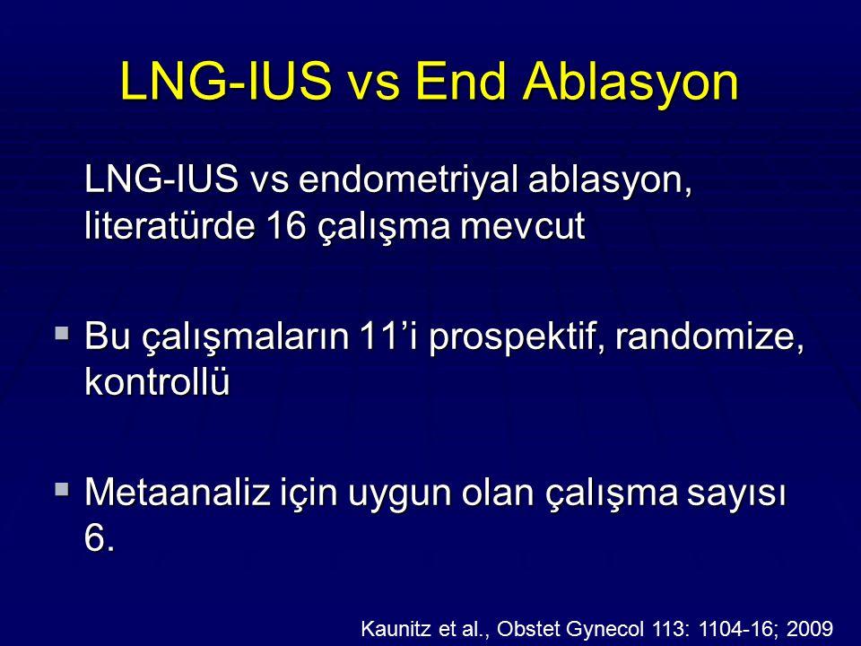 LNG-IUS vs End Ablasyon LNG-IUS vs endometriyal ablasyon, literatürde 16 çalışma mevcut  Bu çalışmaların 11'i prospektif, randomize, kontrollü  Meta