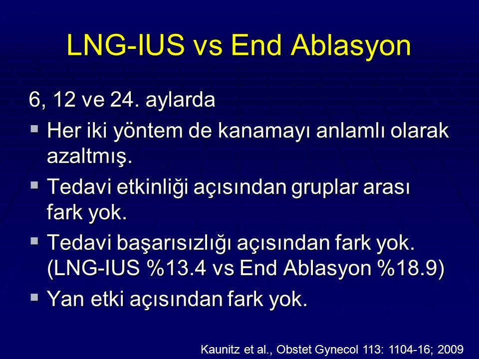 LNG-IUS vs End Ablasyon 6, 12 ve 24. aylarda  Her iki yöntem de kanamayı anlamlı olarak azaltmış.  Tedavi etkinliği açısından gruplar arası fark yok