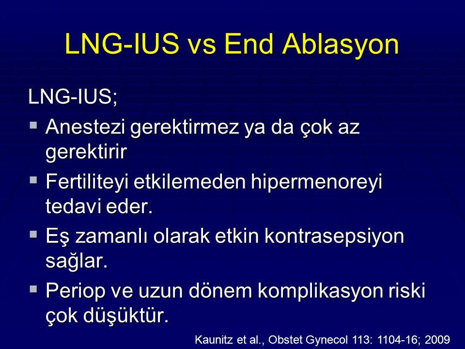 LNG-IUS vs End Ablasyon LNG-IUS;  Anestezi gerektirmez ya da çok az gerektirir  Fertiliteyi etkilemeden hipermenoreyi tedavi eder.  Eş zamanlı olar