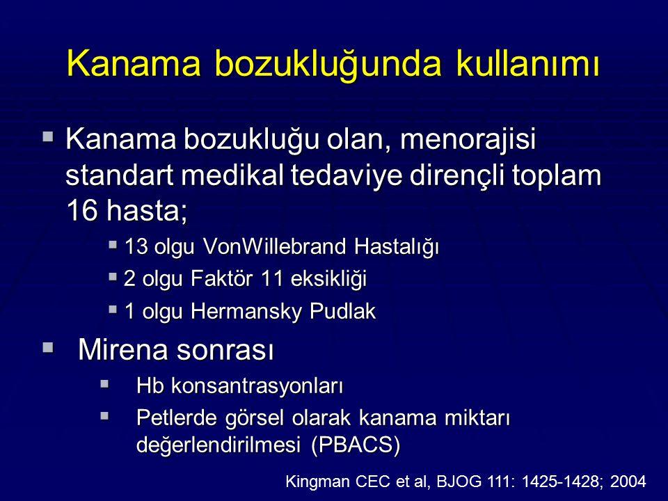 Kanama bozukluğunda kullanımı  Kanama bozukluğu olan, menorajisi standart medikal tedaviye dirençli toplam 16 hasta;  13 olgu VonWillebrand Hastalığ