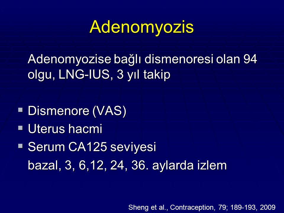 Adenomyozis Adenomyozise bağlı dismenoresi olan 94 olgu, LNG-IUS, 3 yıl takip  Dismenore (VAS)  Uterus hacmi  Serum CA125 seviyesi bazal, 3, 6,12,