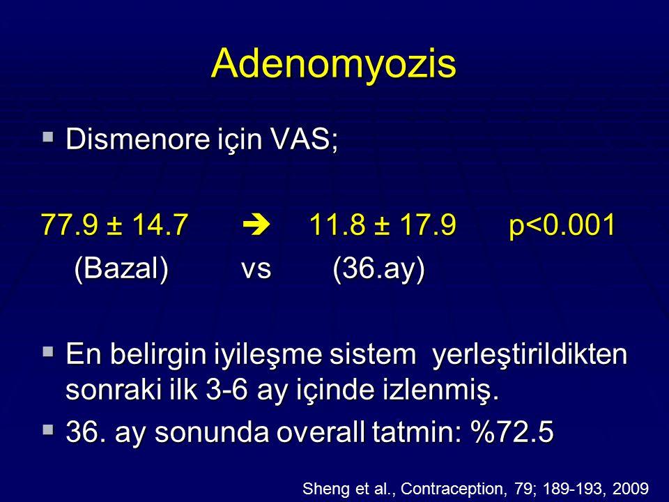 Adenomyozis  Dismenore için VAS; 77.9 ± 14.7  11.8 ± 17.9 p<0.001 (Bazal)vs (36.ay) (Bazal)vs (36.ay)  En belirgin iyileşme sistem yerleştirildikte