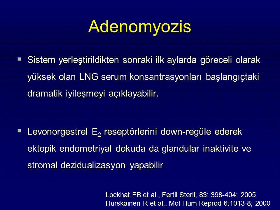 Adenomyozis  Sistem yerleştirildikten sonraki ilk aylarda göreceli olarak yüksek olan LNG serum konsantrasyonları başlangıçtaki dramatik iyileşmeyi a